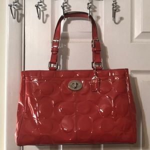 Coach coral patent leather purse